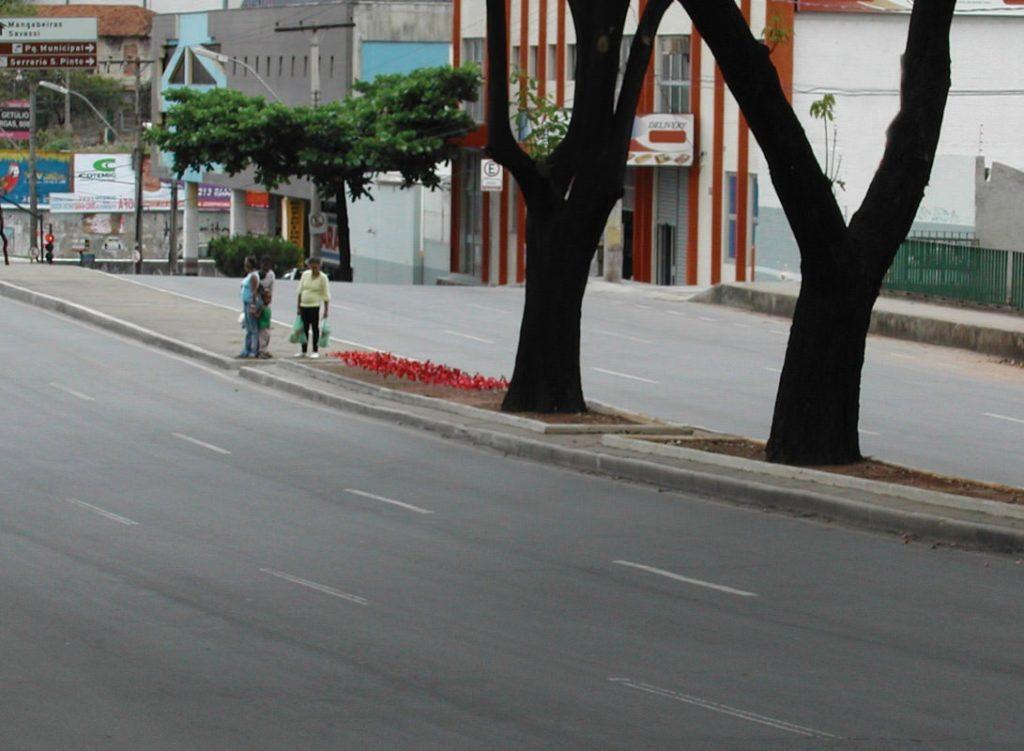 Jardim (Poro) sendo visto de perto por passantes, ao longe a intervenção vira uma mancha de cor na cidade