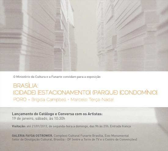 Convite de lançamento do catálogo da exposição do Poro na Funarte