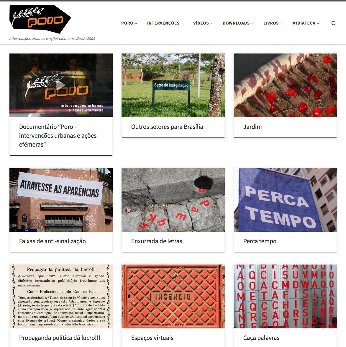 Novo site do Poro - intervenções urbanas e ações efêmeras
