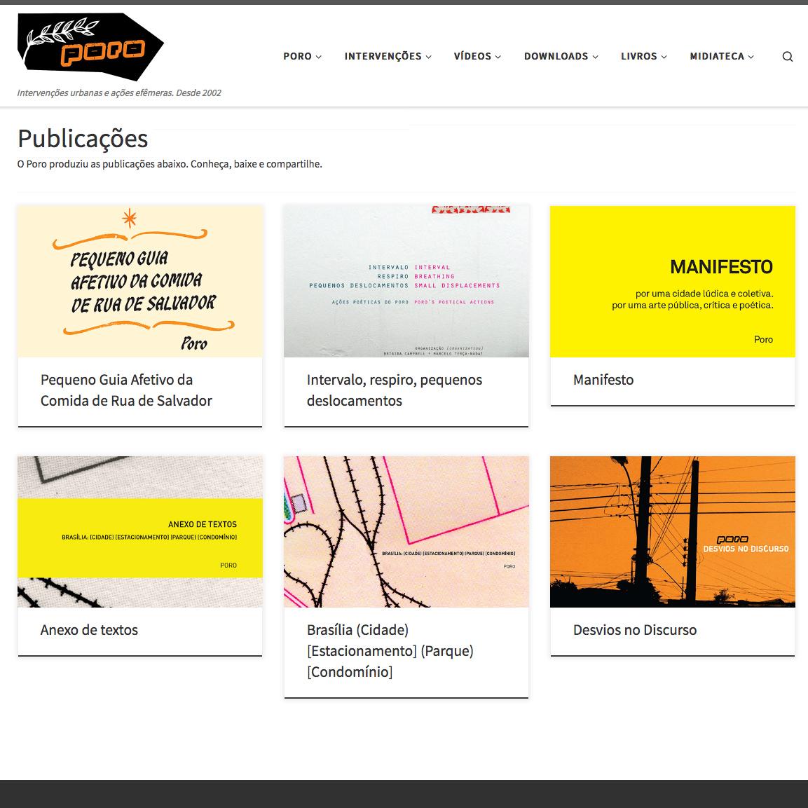 Publicações independentes feitas pelo Coletivo Poro